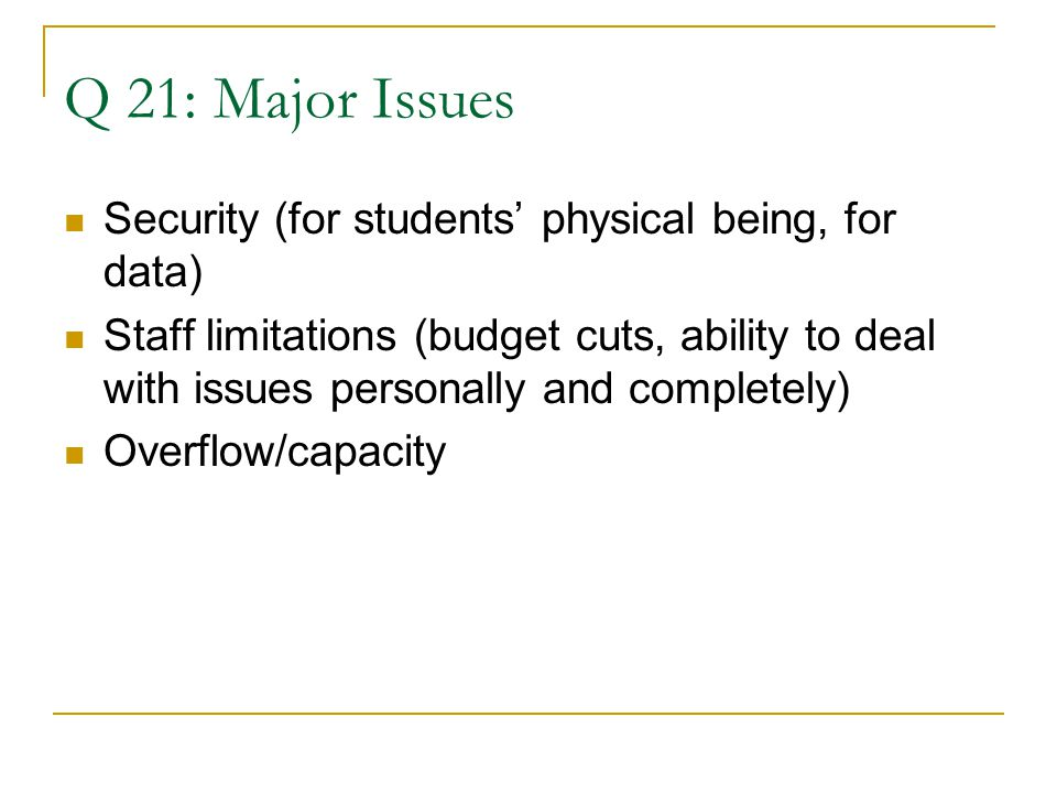 Q 21: Major Issues Security (for students' physical being, for data) Staff limitations (budget cuts, ability to deal with issues personally and completely) Overflow/capacity
