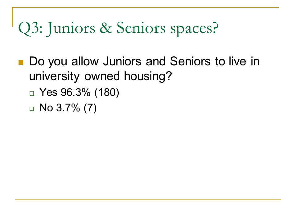 Q3: Juniors & Seniors spaces. Do you allow Juniors and Seniors to live in university owned housing.