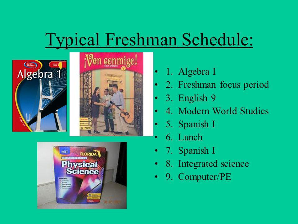 Typical Freshman Schedule: 1.Algebra I 2. Freshman focus period 3.