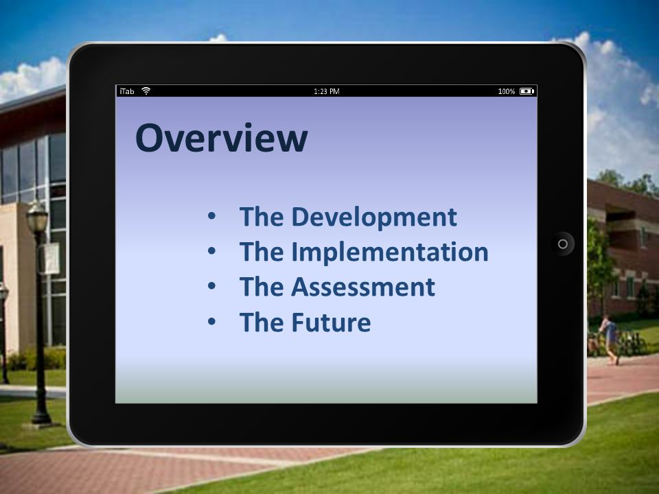 Overview The Development The Implementation The Assessment The Future