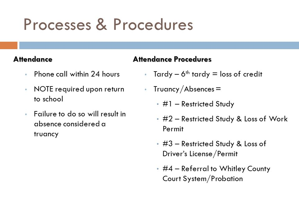 Processes & Procedures Attendance Phone call within 24 hours NOTE required upon return to school Failure to do so will result in absence considered a truancy Attendance Procedures Tardy – 6 th tardy = loss of credit Truancy/Absences = #1 – Restricted Study #2 – Restricted Study & Loss of Work Permit #3 – Restricted Study & Loss of Driver's License/Permit #4 – Referral to Whitley County Court System/Probation