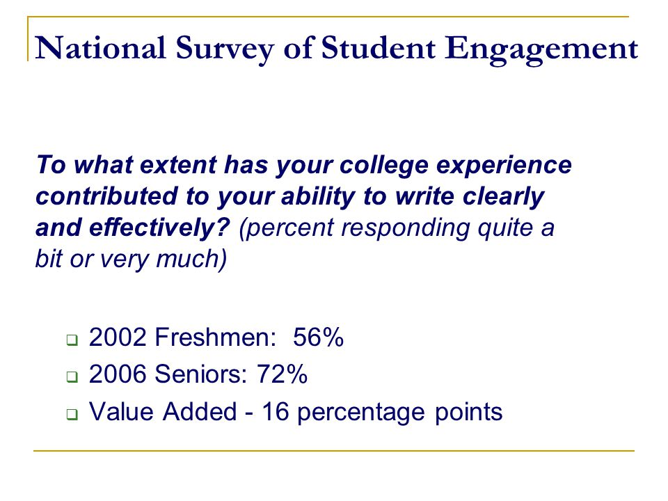 National Survey of Student Engagement  2002 Freshmen: 56%  2006 Seniors: 72%  Value Added - 16 percentage points To what extent has your college ex