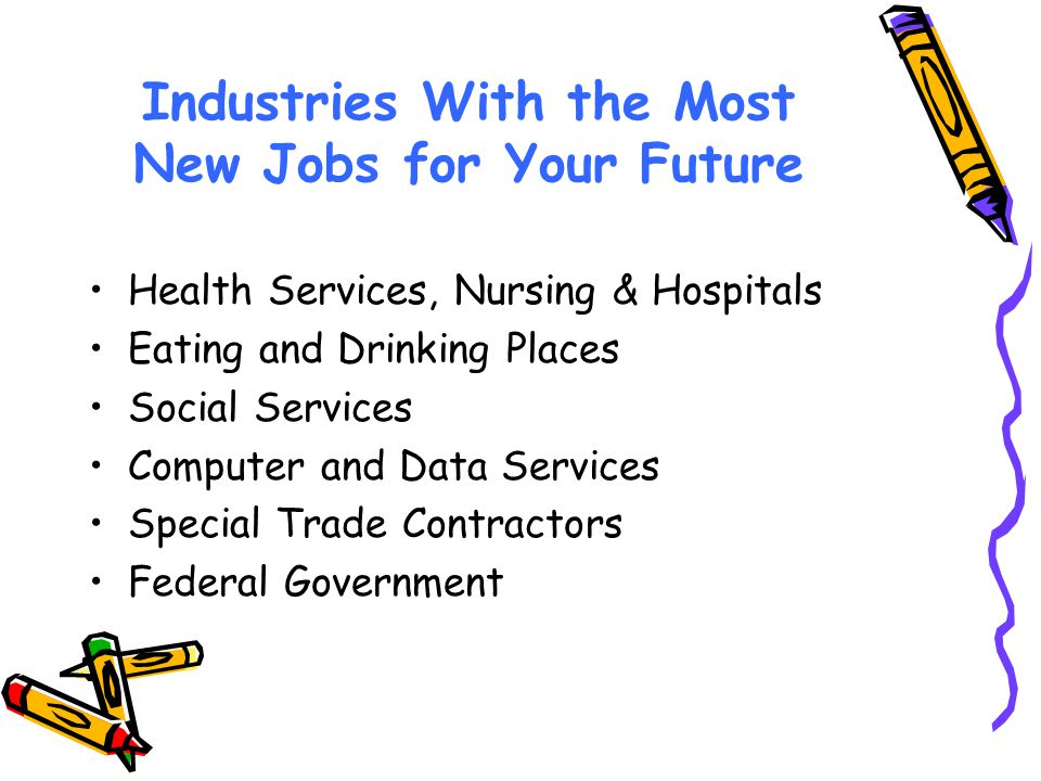 Industries With the Most New Jobs for Your Future Health Services, Nursing & Hospitals Eating and Drinking Places Social Services Computer and Data Services Special Trade Contractors Federal Government