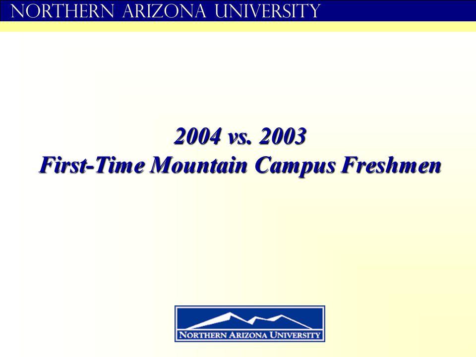 Northern Arizona University 2004 vs. 2003 First-Time Mountain Campus Freshmen