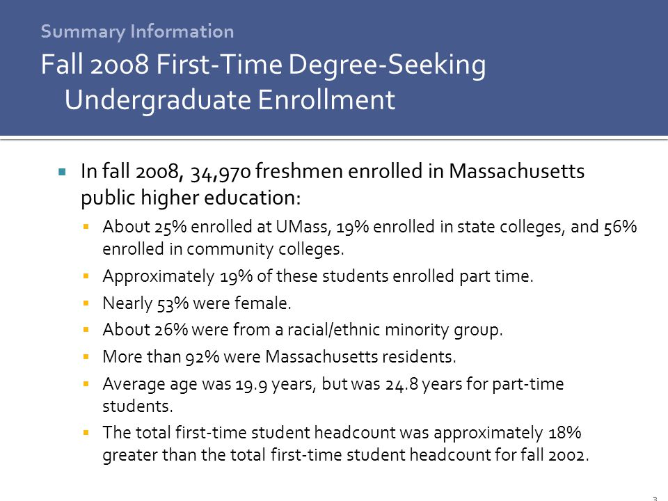 3 Fall 2008 First-Time Degree-Seeking Undergraduate Enrollment  In fall 2008, 34,970 freshmen enrolled in Massachusetts public higher education:  About 25% enrolled at UMass, 19% enrolled in state colleges, and 56% enrolled in community colleges.