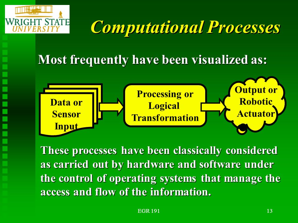 EGR 19113 Computational Processes Most frequently have been visualized as: Data or Sensor Input Processing or Logical Transformation Output or Robotic Actuator These processes have been classically considered as carried out by hardware and software under the control of operating systems that manage the access and flow of the information.