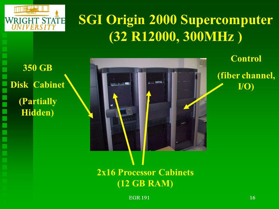 EGR 19116 SGI Origin 2000 Supercomputer (32 R12000, 300MHz ) 350 GB Disk Cabinet (Partially Hidden) 2x16 Processor Cabinets (12 GB RAM) Control (fiber channel, I/O)