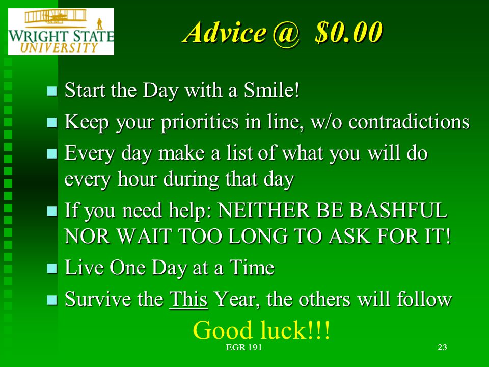 EGR 19123 Advice @ $0.00 n Start the Day with a Smile.