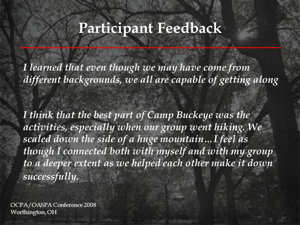 Participant Feedback OCPA/OASPA Conference 2008 Worthington, OH I think that the best part of Camp Buckeye was the activities, especially when our group went hiking.