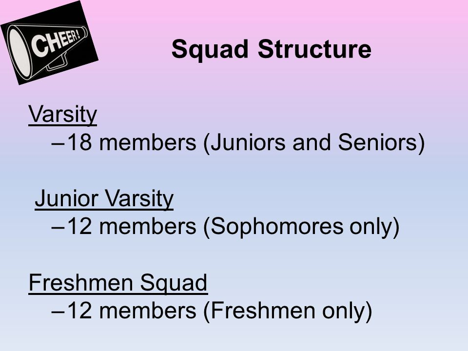 Squad Structure Varsity –18 members (Juniors and Seniors) Junior Varsity –12 members (Sophomores only) Freshmen Squad –12 members (Freshmen only)