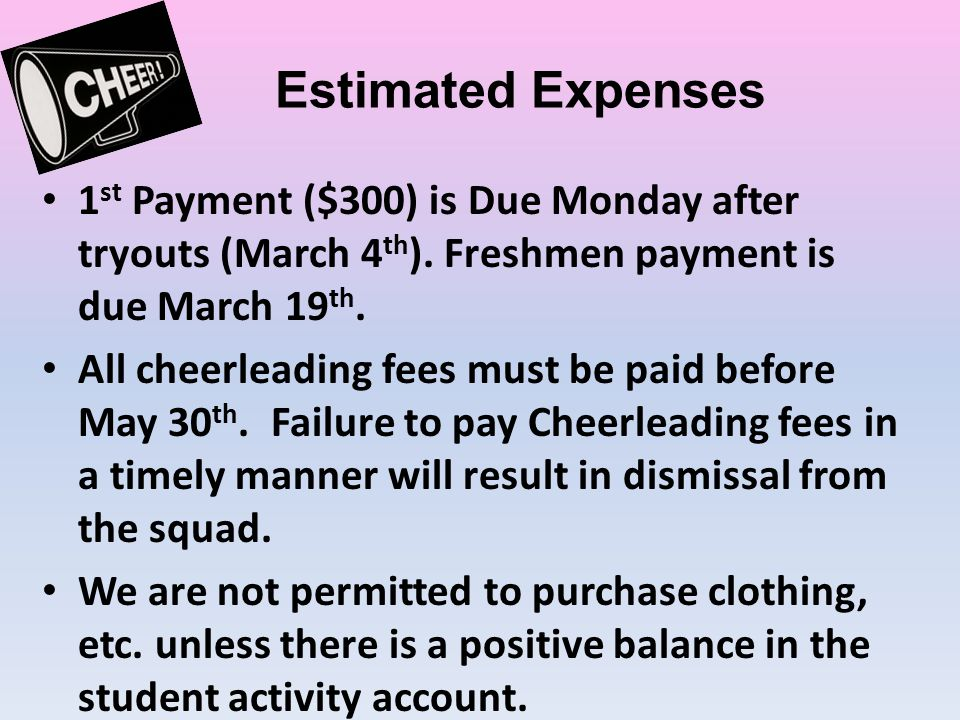 Estimated Expenses 1 st Payment ($300) is Due Monday after tryouts (March 4 th ).