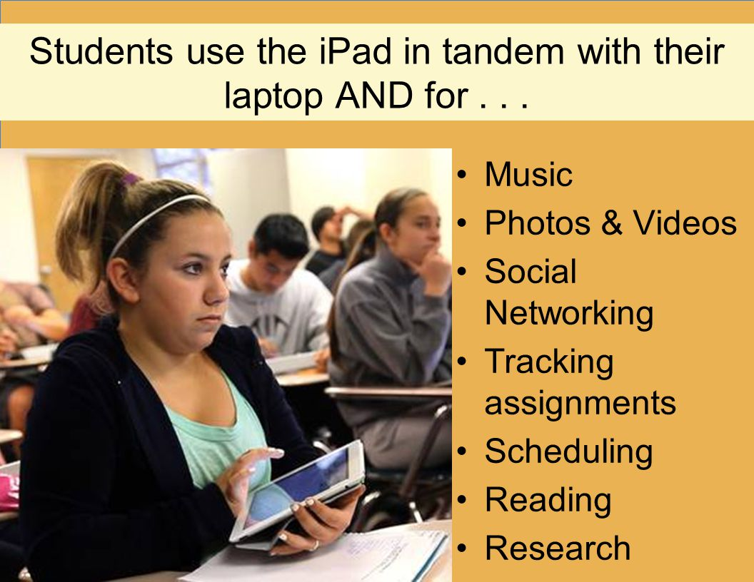 Students use the iPad in tandem with their laptop AND for... Music Photos & Videos Social Networking Tracking assignments Scheduling Reading Research
