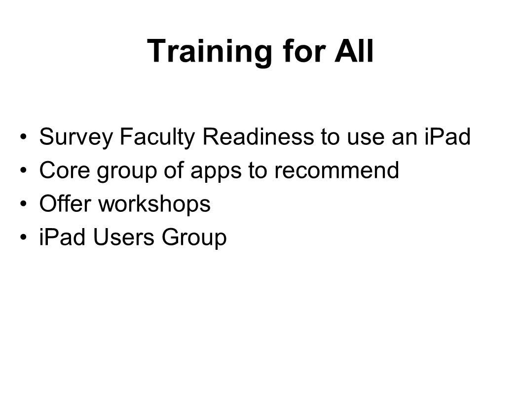 Training for All Survey Faculty Readiness to use an iPad Core group of apps to recommend Offer workshops iPad Users Group