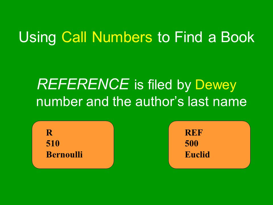 Using Call Numbers to Find a Book REFERENCE is filed by Dewey number and the author's last name R 510 Bernoulli REF 500 Euclid