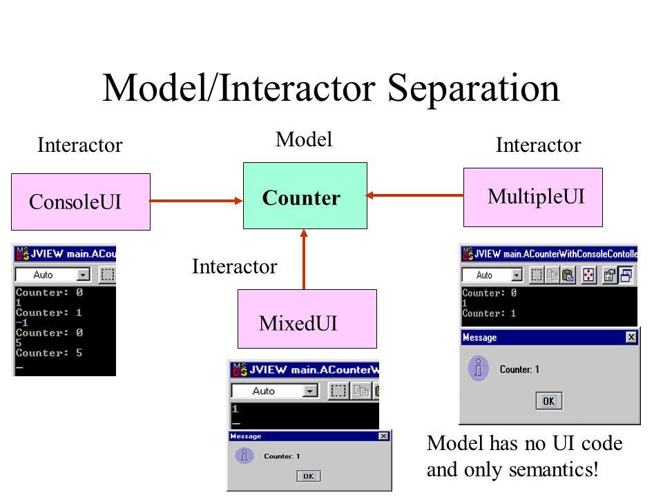 Model/Interactor Separation ConsoleUI MixedUI Counter MultipleUI Model Model has no UI code and only semantics.