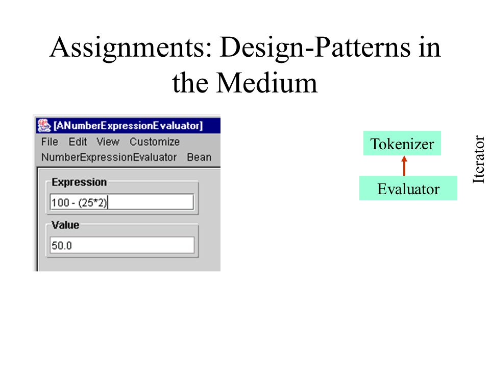 Assignments: Design-Patterns in the Medium Tokenizer Evaluator Iterator