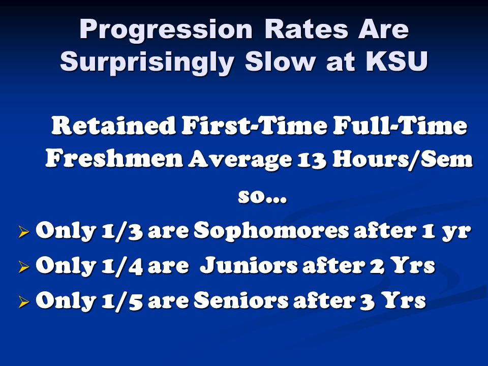 Progression Rates Are Surprisingly Slow at KSU Retained First-Time Full-Time Freshmen Average 13 Hours/Sem Retained First-Time Full-Time Freshmen Average 13 Hours/Sem so… so…  Only 1/3 are Sophomores after 1 yr  Only 1/4 are Juniors after 2 Yrs  Only 1/5 are Seniors after 3 Yrs