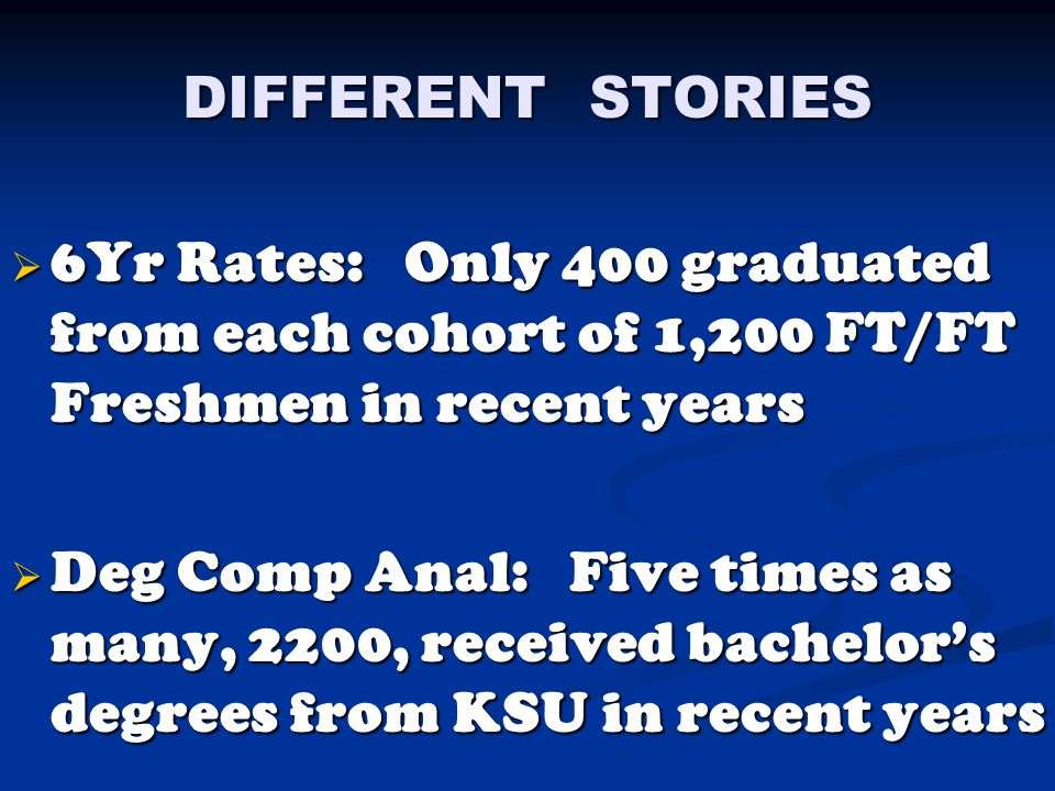 DIFFERENT STORIES  6Yr Rates: Only 400 graduated from each cohort of 1,200 FT/FT Freshmen in recent years  Deg Comp Anal: Five times as many, 2200, received bachelor's degrees from KSU in recent years