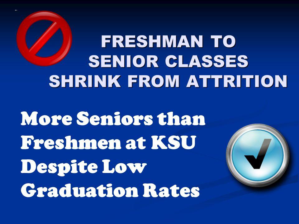 FRESHMAN TO SENIOR CLASSES SHRINK FROM ATTRITION More Seniors than Freshmen at KSU Despite Low Graduation Rates