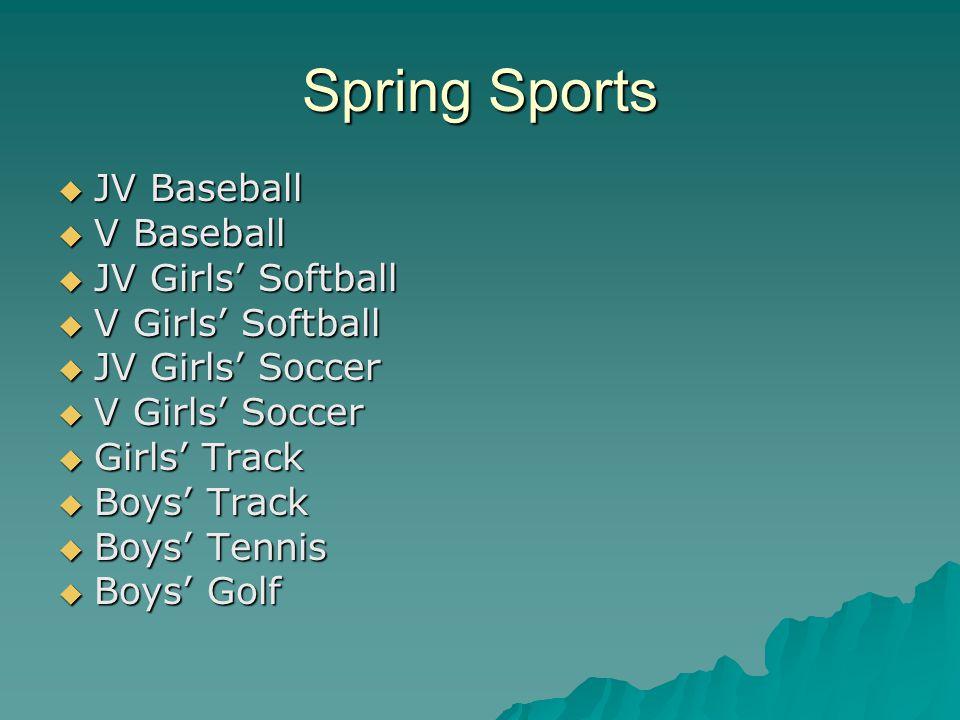 Spring Sports  JV Baseball  V Baseball  JV Girls' Softball  V Girls' Softball  JV Girls' Soccer  V Girls' Soccer  Girls' Track  Boys' Track  Boys' Tennis  Boys' Golf