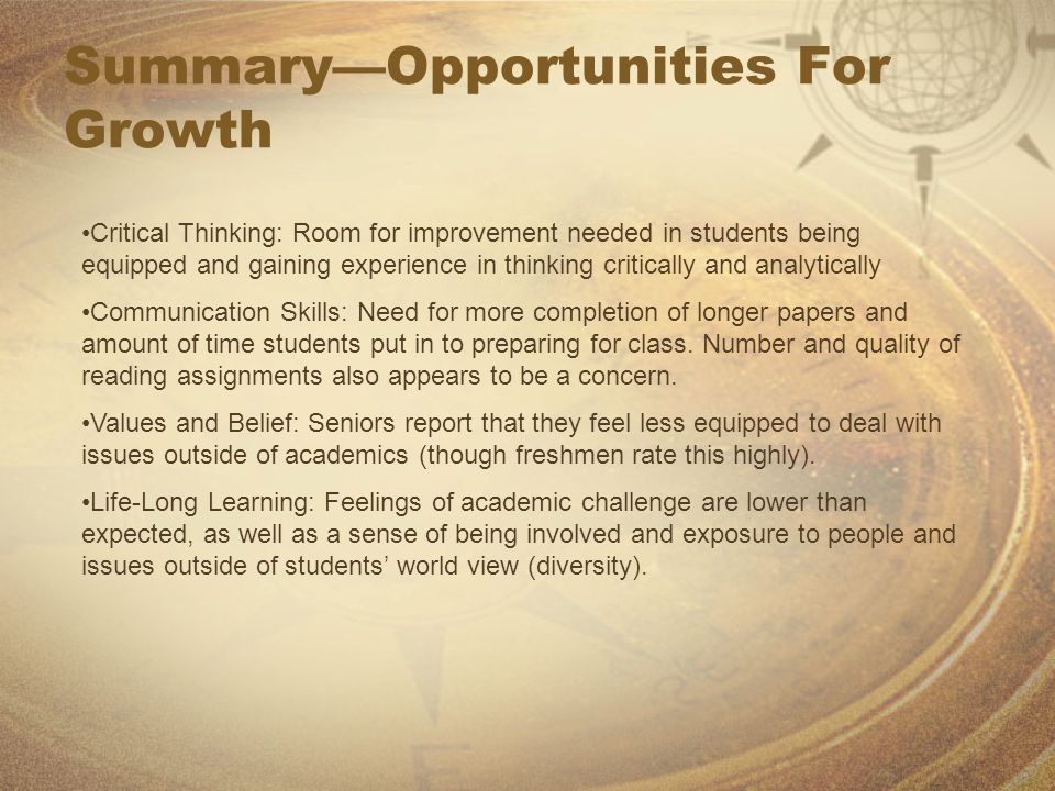 Summary—Opportunities For Growth Critical Thinking: Room for improvement needed in students being equipped and gaining experience in thinking critical