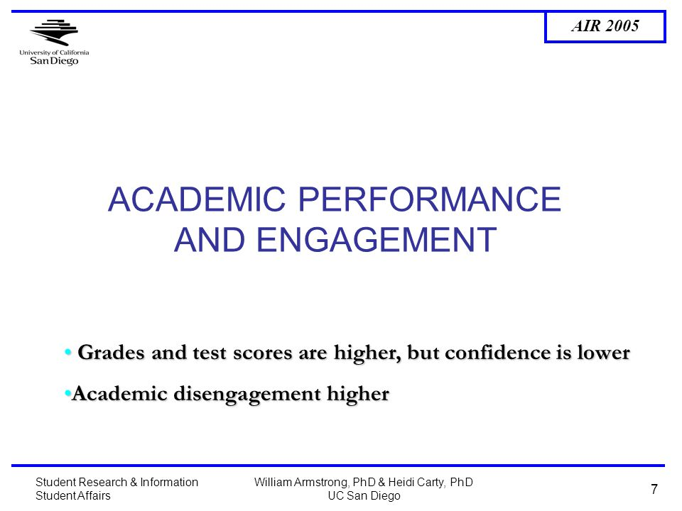 AIR 2005 Student Research & Information Student Affairs William Armstrong, PhD & Heidi Carty, PhD UC San Diego 7 ACADEMIC PERFORMANCE AND ENGAGEMENT Grades and test scores are higher, but confidence is lower Grades and test scores are higher, but confidence is lower Academic disengagement higherAcademic disengagement higher
