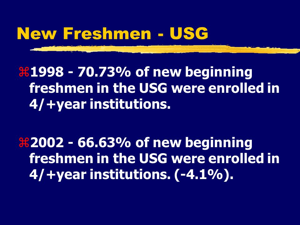 New Freshmen - USG z1998 - 70.73% of new beginning freshmen in the USG were enrolled in 4/+year institutions.