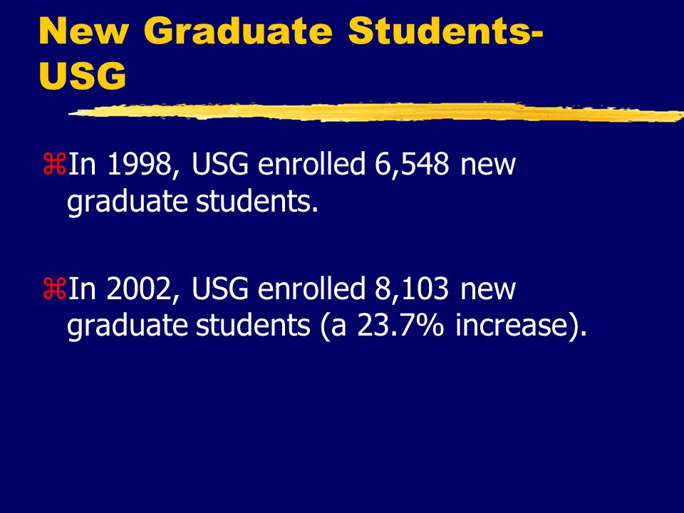 New Graduate Students- USG zIn 1998, USG enrolled 6,548 new graduate students.