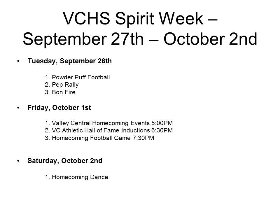 VCHS Spirit Week – September 27th – October 2nd Tuesday, September 28th 1.