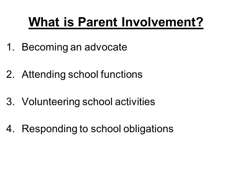 What is Parent Involvement.