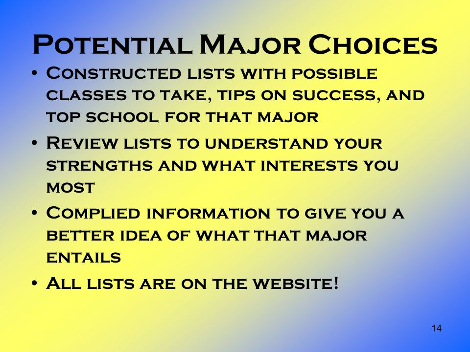 14 Potential Major Choices Constructed lists with possible classes to take, tips on success, and top school for that major Review lists to understand your strengths and what interests you most Complied information to give you a better idea of what that major entails All lists are on the website!