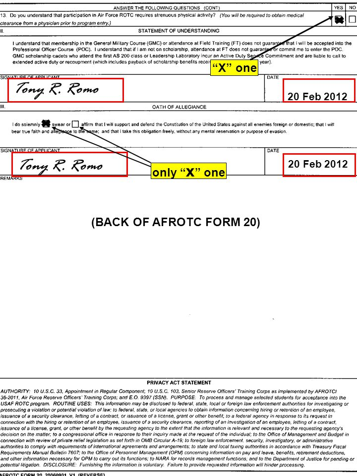 Tony R. Romo 20 Feb 2012 Tony R. Romo only x one X one (BACK OF AFROTC FORM 20)