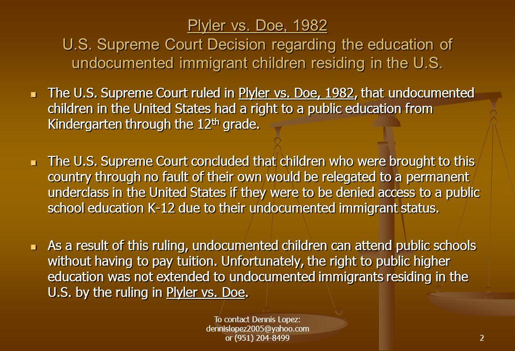 Plyler vs. Doe, 1982 U.S.