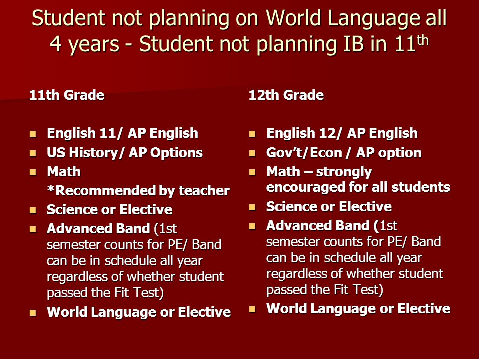 Student not planning on World Language all 4 years - Student not planning IB in 11 th 11th Grade English 11/ AP English English 11/ AP English US Hist