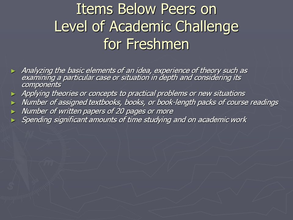 Items Below Peers on Level of Academic Challenge for Freshmen ► Analyzing the basic elements of an idea, experience of theory such as examining a particular case or situation in depth and considering its components ► Applying theories or concepts to practical problems or new situations ► Number of assigned textbooks, books, or book-length packs of course readings ► Number of written papers of 20 pages or more ► Spending significant amounts of time studying and on academic work