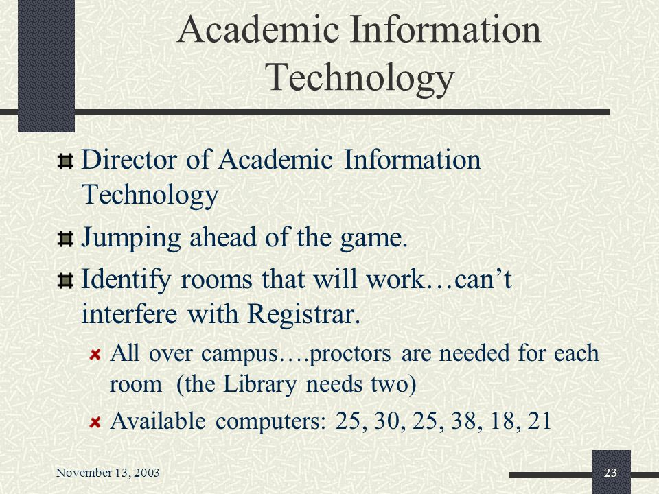November 13, 200322 Really, It will be fun…. Help! Fredonia Needs You! What should college students know About Information Management? By Soliciting y