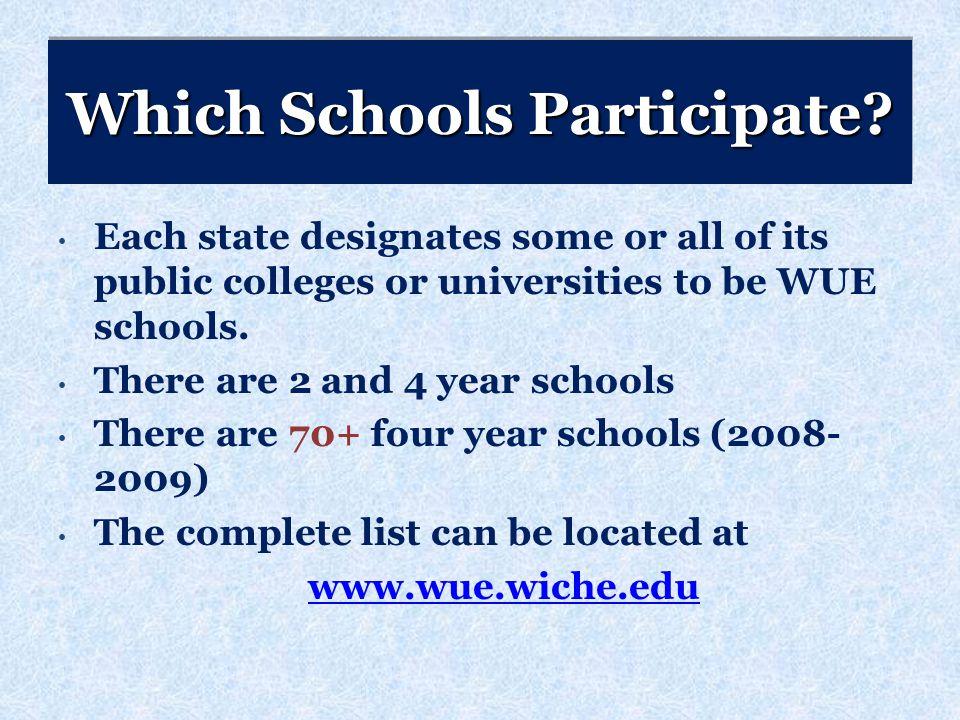 Which Schools Participate.