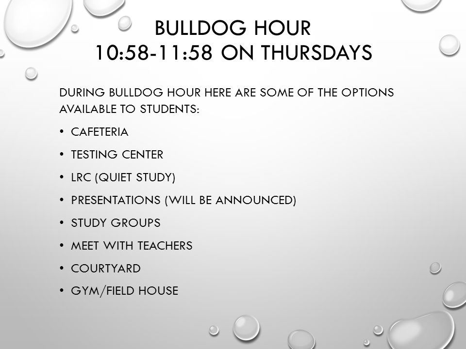 BULLDOG HOUR 10:58-11:58 ON THURSDAYS DURING BULLDOG HOUR HERE ARE SOME OF THE OPTIONS AVAILABLE TO STUDENTS: CAFETERIA TESTING CENTER LRC (QUIET STUDY) PRESENTATIONS (WILL BE ANNOUNCED) STUDY GROUPS MEET WITH TEACHERS COURTYARD GYM/FIELD HOUSE
