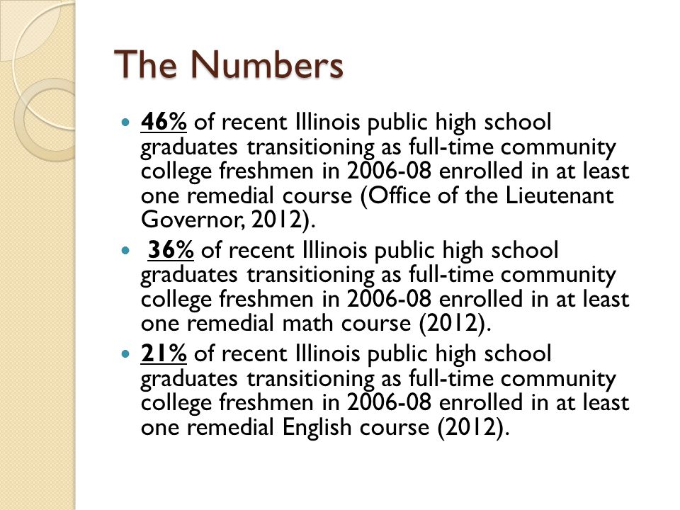 The Numbers 46% of recent Illinois public high school graduates transitioning as full-time community college freshmen in 2006-08 enrolled in at least one remedial course (Office of the Lieutenant Governor, 2012).