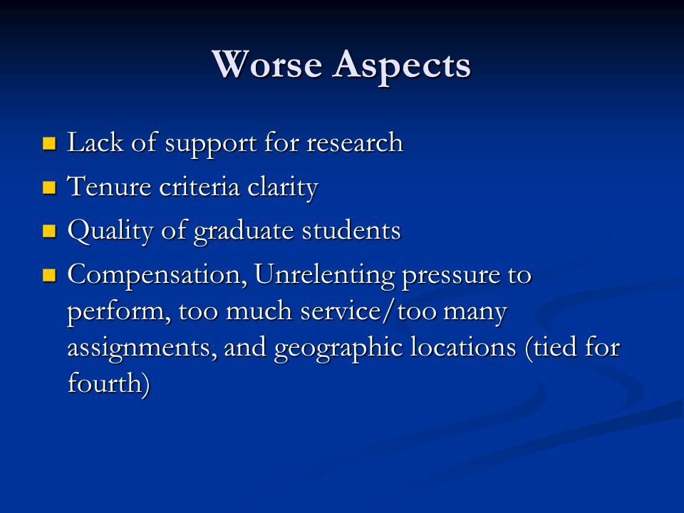 Worse Aspects Lack of support for research Lack of support for research Tenure criteria clarity Tenure criteria clarity Quality of graduate students Quality of graduate students Compensation, Unrelenting pressure to perform, too much service/too many assignments, and geographic locations (tied for fourth) Compensation, Unrelenting pressure to perform, too much service/too many assignments, and geographic locations (tied for fourth)