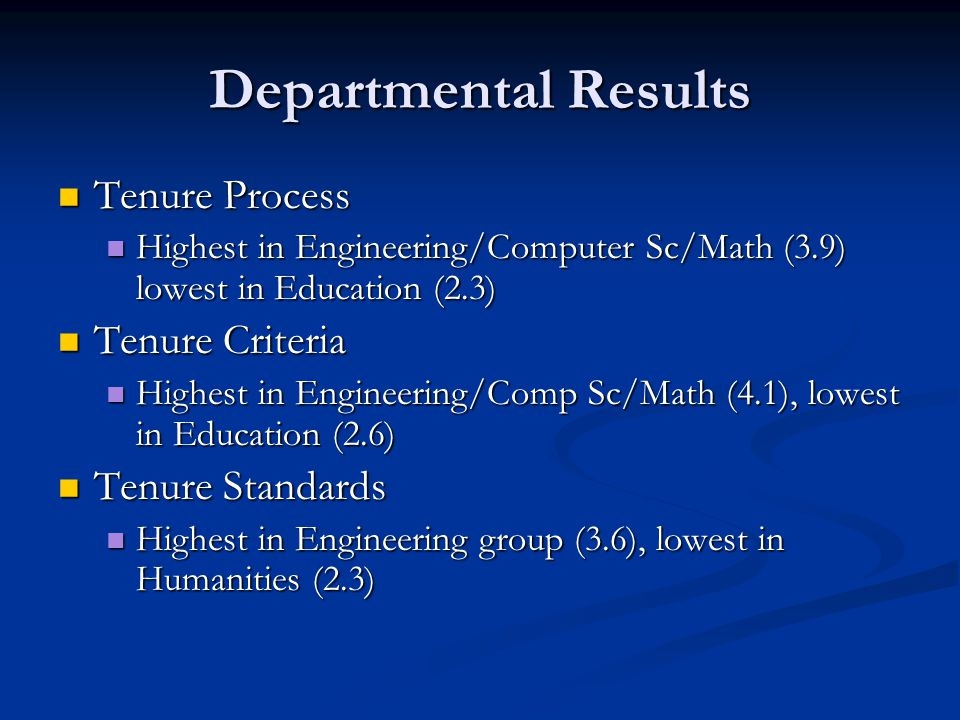 Departmental Results Tenure Process Tenure Process Highest in Engineering/Computer Sc/Math (3.9) lowest in Education (2.3) Highest in Engineering/Computer Sc/Math (3.9) lowest in Education (2.3) Tenure Criteria Tenure Criteria Highest in Engineering/Comp Sc/Math (4.1), lowest in Education (2.6) Highest in Engineering/Comp Sc/Math (4.1), lowest in Education (2.6) Tenure Standards Tenure Standards Highest in Engineering group (3.6), lowest in Humanities (2.3) Highest in Engineering group (3.6), lowest in Humanities (2.3)