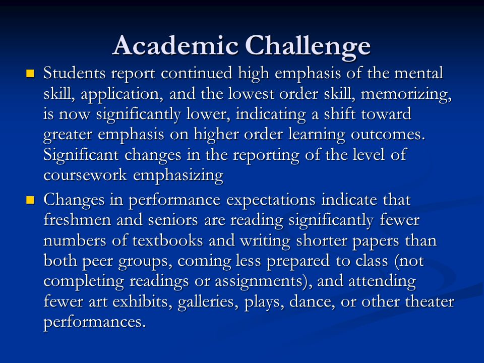 Academic Challenge Students report continued high emphasis of the mental skill, application, and the lowest order skill, memorizing, is now significantly lower, indicating a shift toward greater emphasis on higher order learning outcomes.