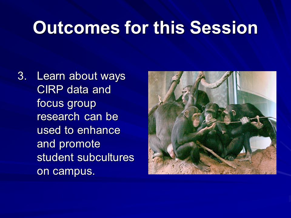 Outcomes for this Session 3.Learn about ways CIRP data and focus group research can be used to enhance and promote student subcultures on campus.