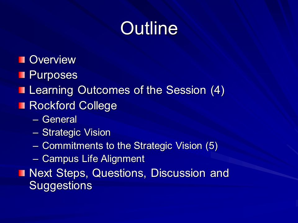 Outline OverviewPurposes Learning Outcomes of the Session (4) Rockford College –General –Strategic Vision –Commitments to the Strategic Vision (5) –Campus Life Alignment Next Steps, Questions, Discussion and Suggestions