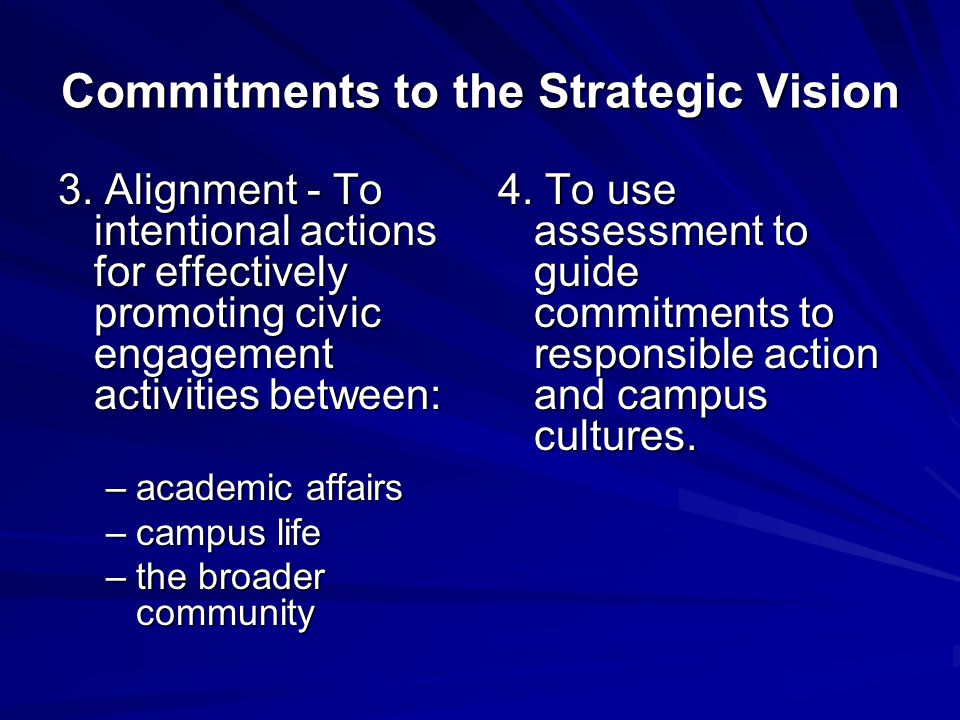 Commitments to the Strategic Vision 3.