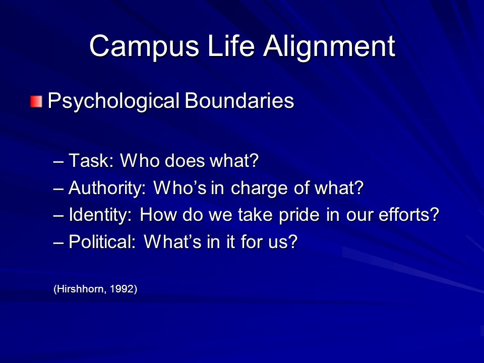 Campus Life Alignment Psychological Boundaries –Task: Who does what? –Authority: Who's in charge of what? –Identity: How do we take pride in our effor