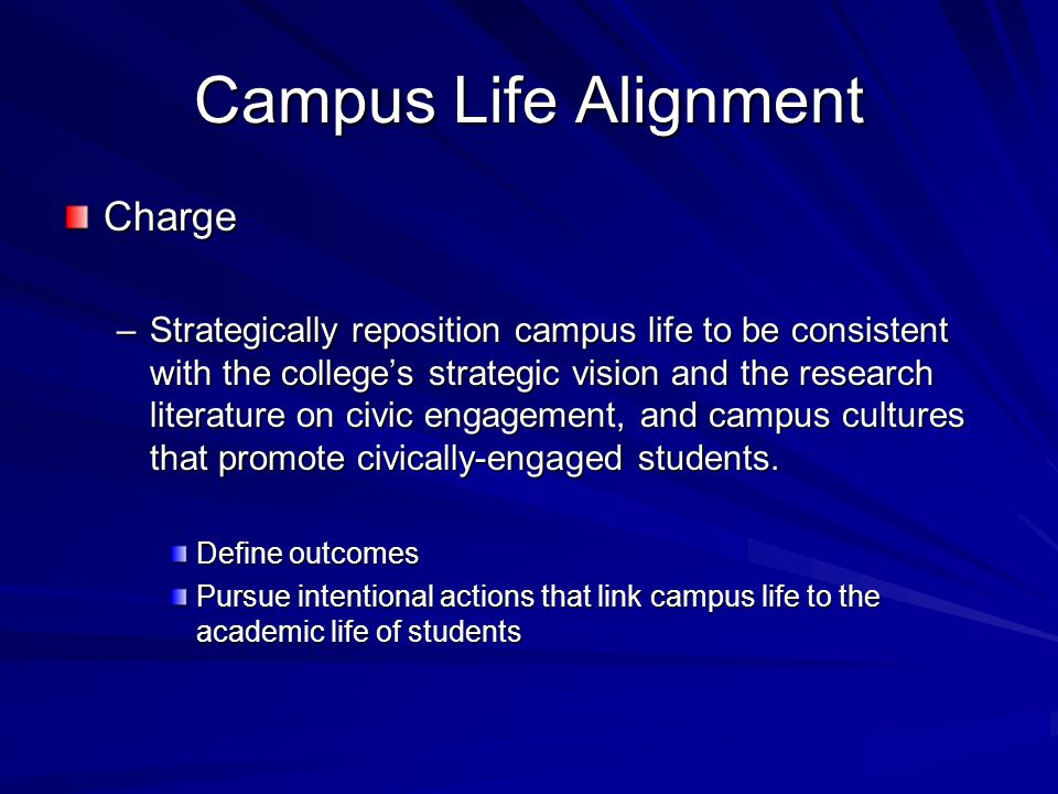 Campus Life Alignment Charge –Strategically reposition campus life to be consistent with the college's strategic vision and the research literature on