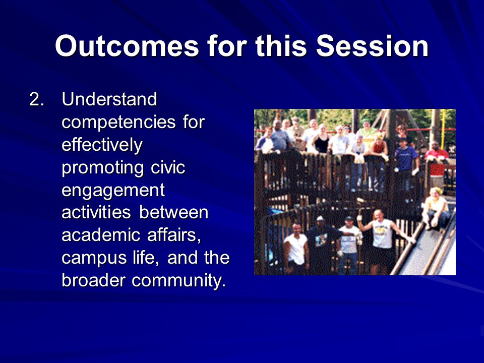 Outcomes for this Session 2.Understand competencies for effectively promoting civic engagement activities between academic affairs, campus life, and t