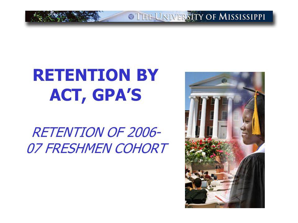 RETENTION BY ACT, GPA'S RETENTION OF 2006- 07 FRESHMEN COHORT