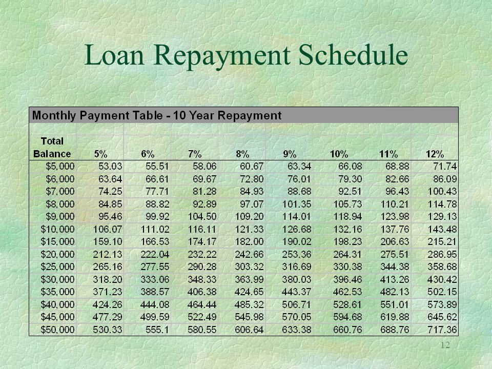 12 Loan Repayment Schedule